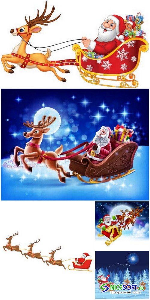 Santa Claus with reindeer 1 - 5 EPS