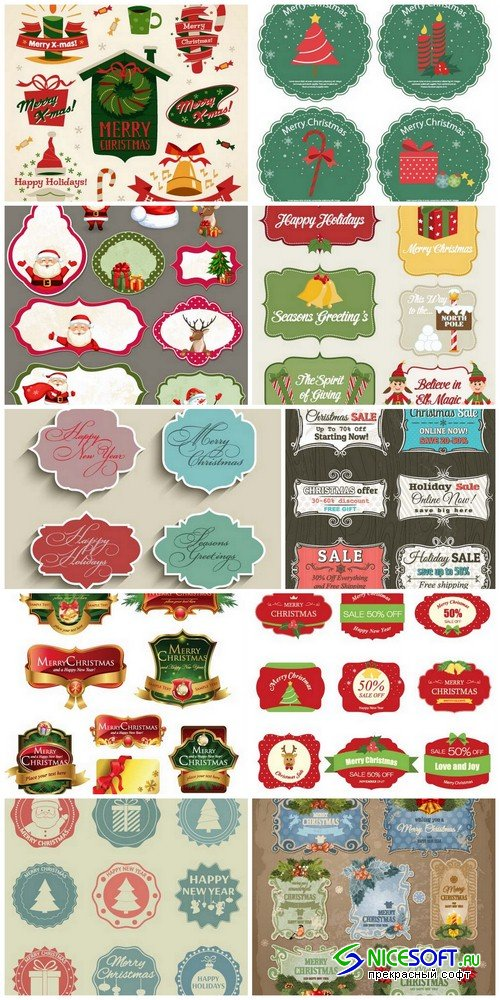 Christmas labels 1 - 10 EPS