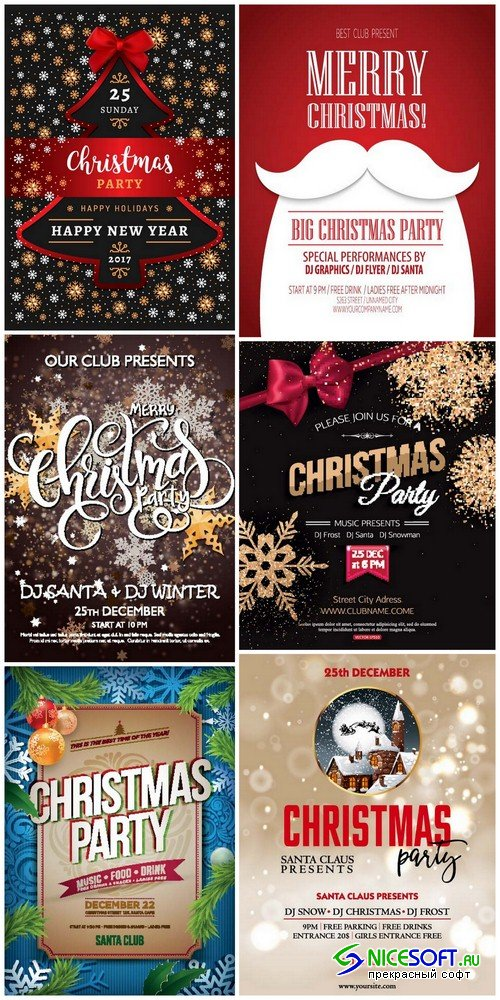 Christmas party poster - 6 EPS