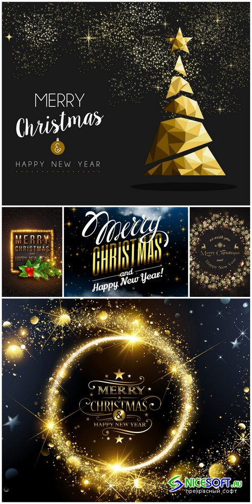 Merry Christmas and Happy New Year backgrounds - 5 UHQ JPEG