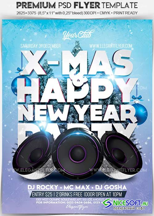 X-Mas & Happy New Year V1 2017 Flyer PSD Template + Facebook Cover
