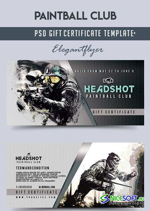 Paintball Club V1 Gift Certificate PSD Template