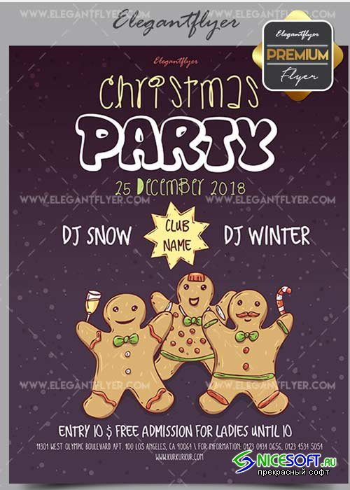 Christmas Party v58 2017 Flyer PSD Template + Facebook Cover