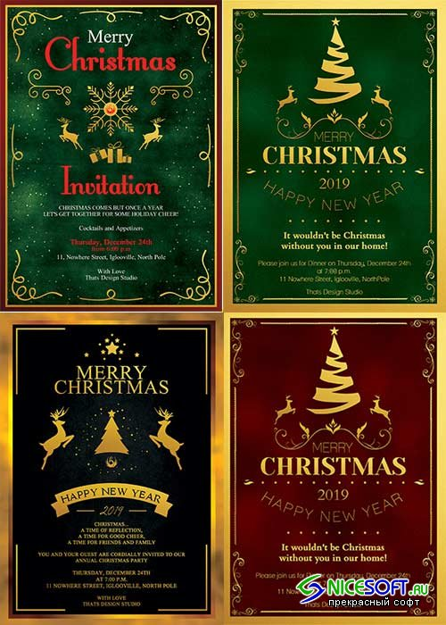 Christmas Invitation V1 4in1 Template
