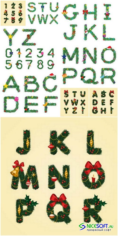 Christmas alphabet 1 - 9 EPS