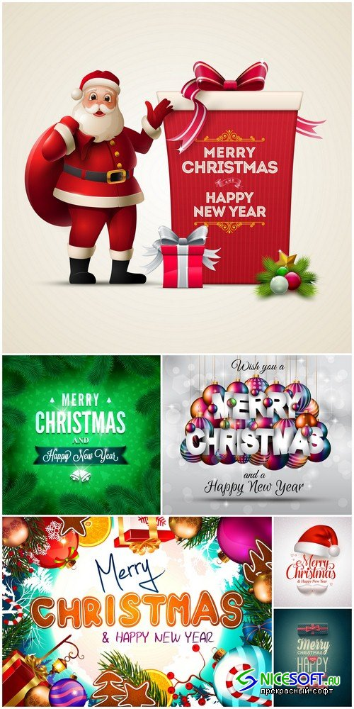 Merry Christmas and Happy New Year backgrounds 1 - 6 UHQ JPEG