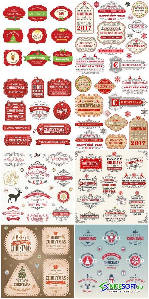 Christmas labels 3 - 8 EPS
