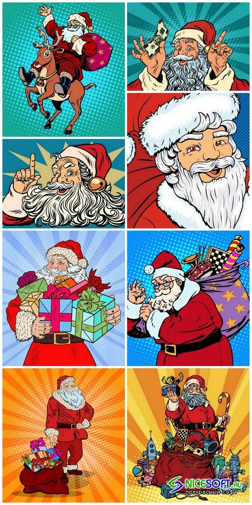 Santa Claus in pop art style - 8 EPS