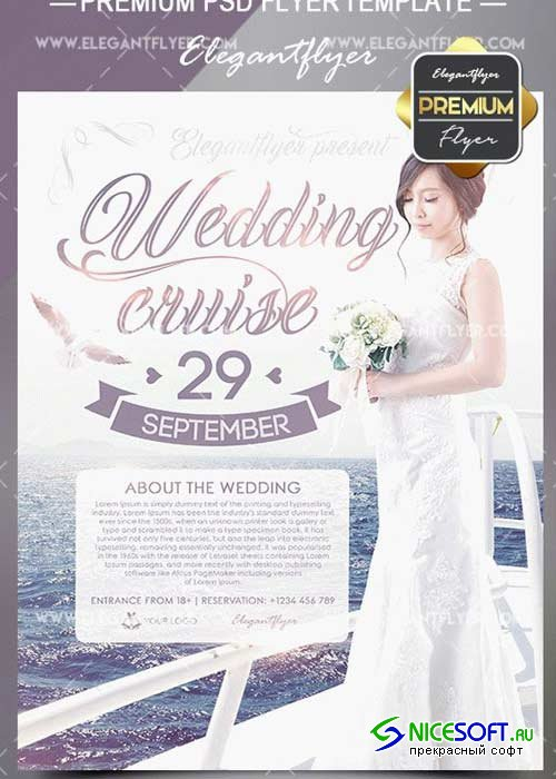 Wedding Cruise V2 Flyer PSD Template + Facebook Cover