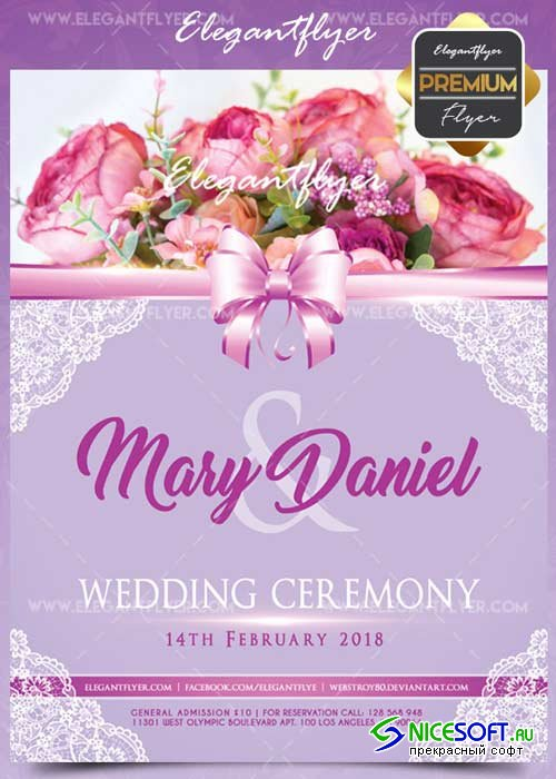 Wedding ceremony V2 Flyer PSD Template + Facebook Cover