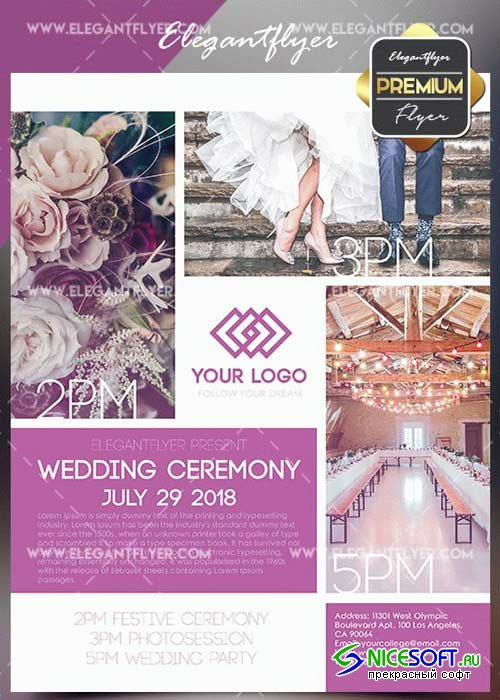 Wedding Ceremony V4 Flyer PSD Template + Facebook Cover