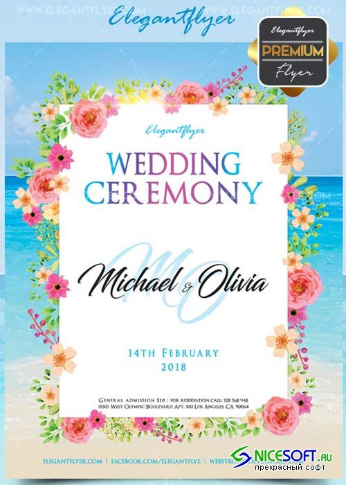 Wedding ceremony V3 Flyer PSD Template + Facebook Cover