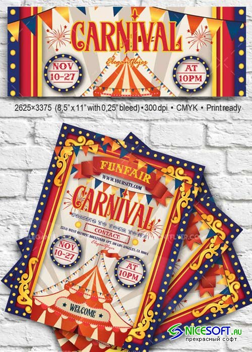 Carnival V19 2017 Flyer PSD Template + Facebook Cover