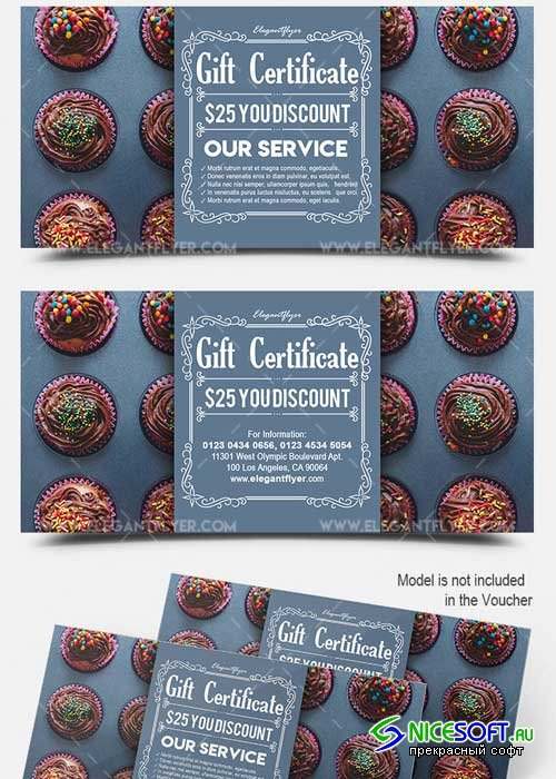 Cupcake V1 2018 Gift Certificate PSD Template