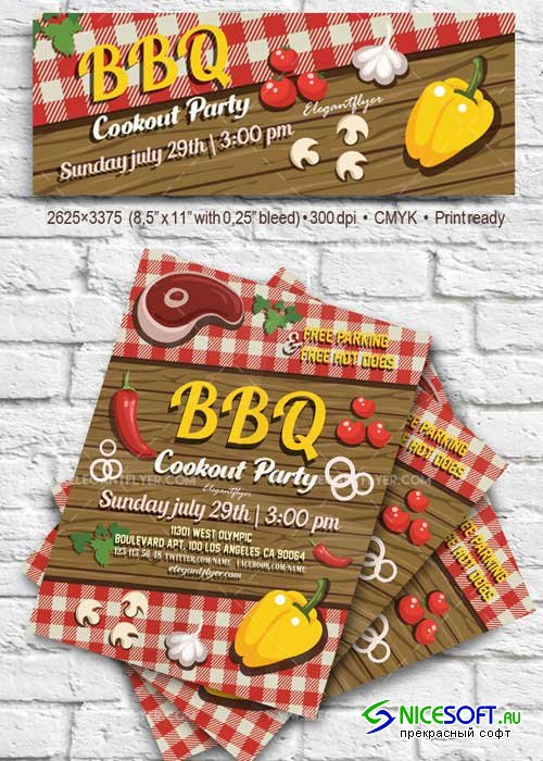 BBQ Party V1 2018 Flyer PSD Template + Facebook Cover