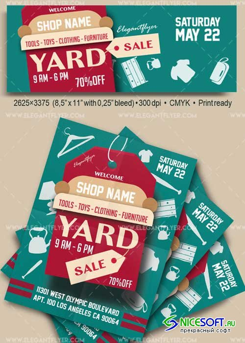 Yard Sale V1 2018 Flyer PSD Template + Facebook Cover