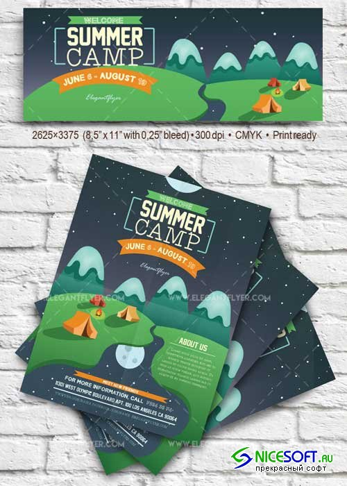 Summer Camp V1 2018 Flyer PSD Template + Facebook Cover
