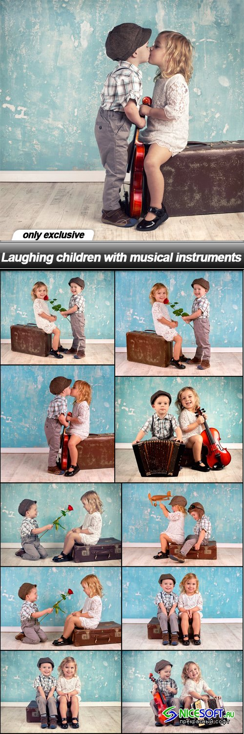 Laughing children with musical instruments