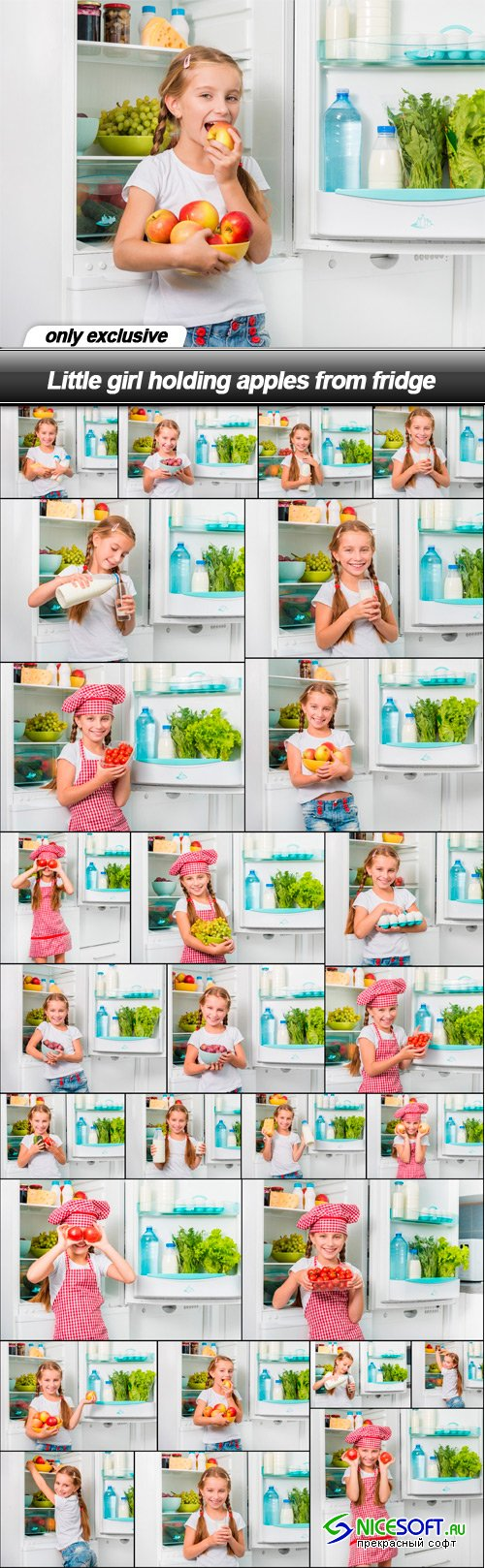Little girl holding apples from fridge