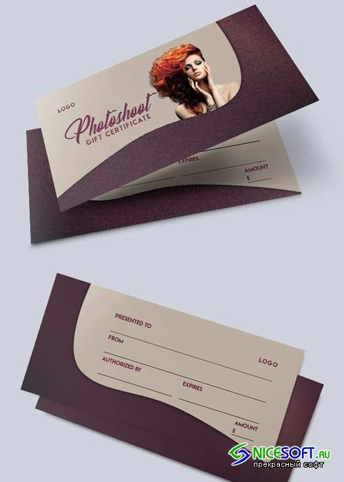 Photoshoot V1 2018 Gift Certificate PSD Template