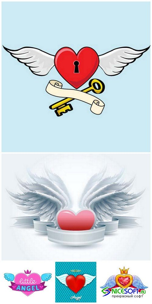 Heart with angel wings - 5 EPS