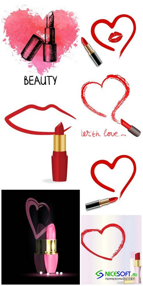 Lipstick and heart - 7 EPS