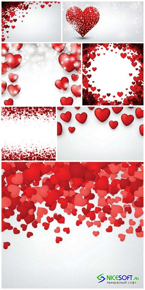 White background with red hearts - 7 EPS