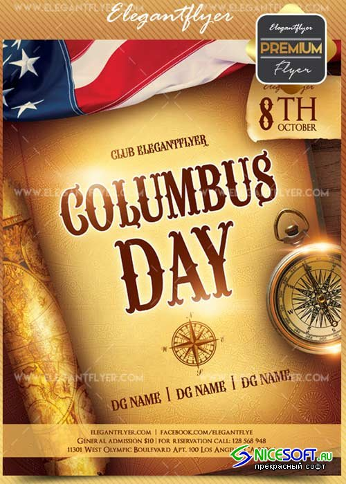 Columbus Day V1 2018 Flyer PSD Template + Facebook Cover