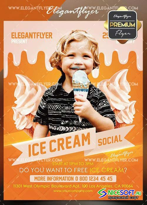 Ice Cream Social V1 2018 Flyer PSD Template + Facebook Cover