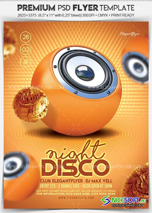 Disco Night V1 2018 Flyer PSD Template + Facebook Cover