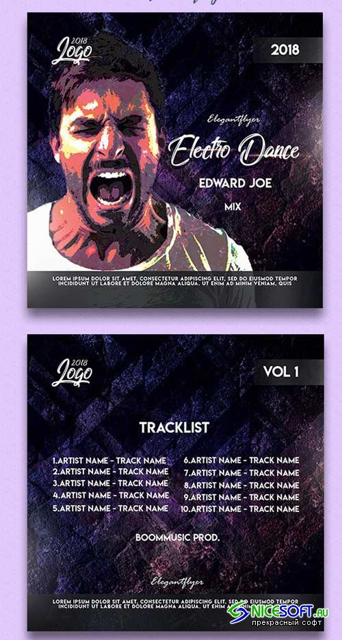 Electro Dance V1 2018 Premium CD Cover PSD Template
