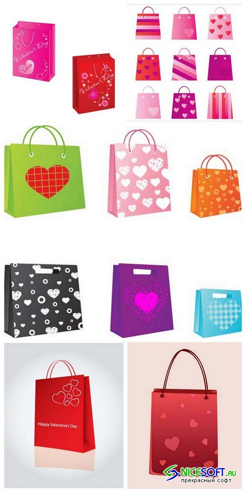 Valentine's Day shopping bag 1 - 5 EPS