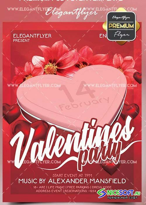 Valentines Party V21 2018 Flyer PSD Template + Facebook Cover