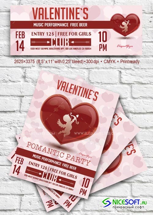 Valentine`s Day V17 2018 Flyer PSD Template + Facebook Cover