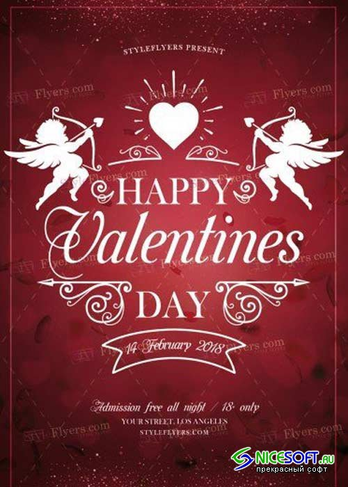Valentine Day V22 2018 PSD Flyer Template