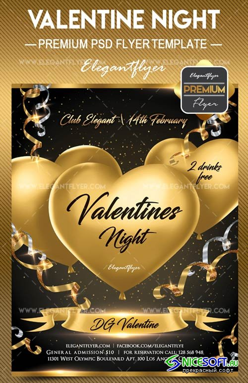 Valentines Night V26 2018 Flyer PSD Template + Facebook Cover