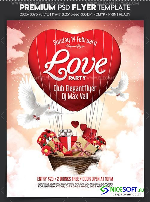 Love Party V02 2018 Flyer PSD Template + Facebook Cover