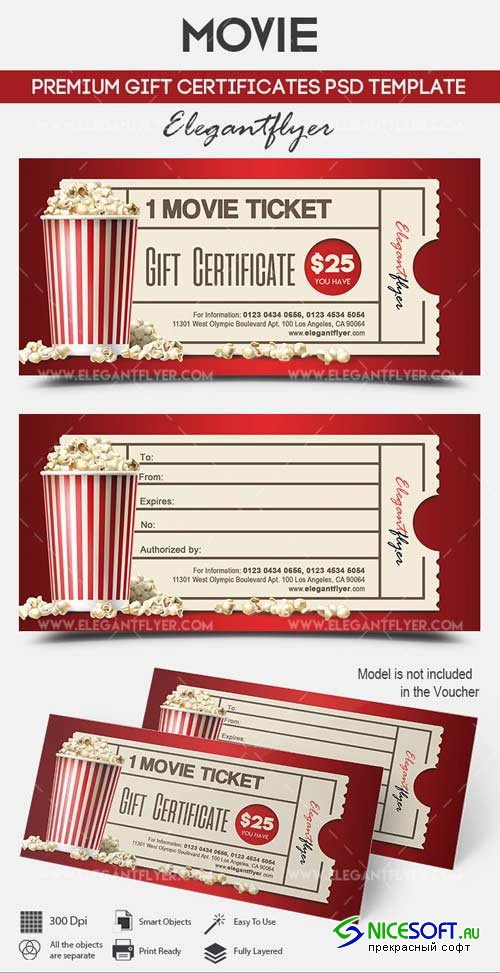 Movie V1 2018 Premium Gift Certificate PSD Template