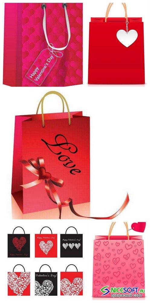 Valentine's Day shopping bag 2 - 5 EPS