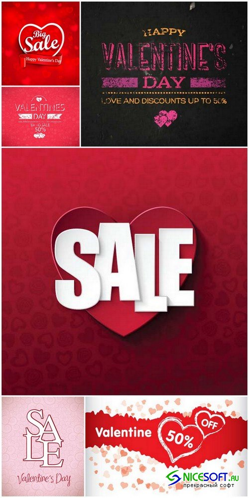 Valentine's Day backgrounds sales 1 - 6 EPS