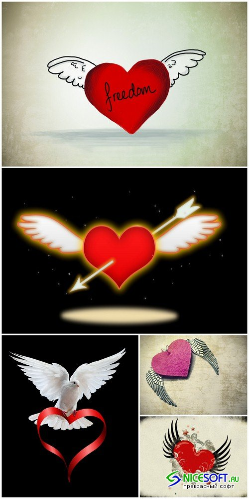 Heart with wings 2 - 5 UHQ JPEG