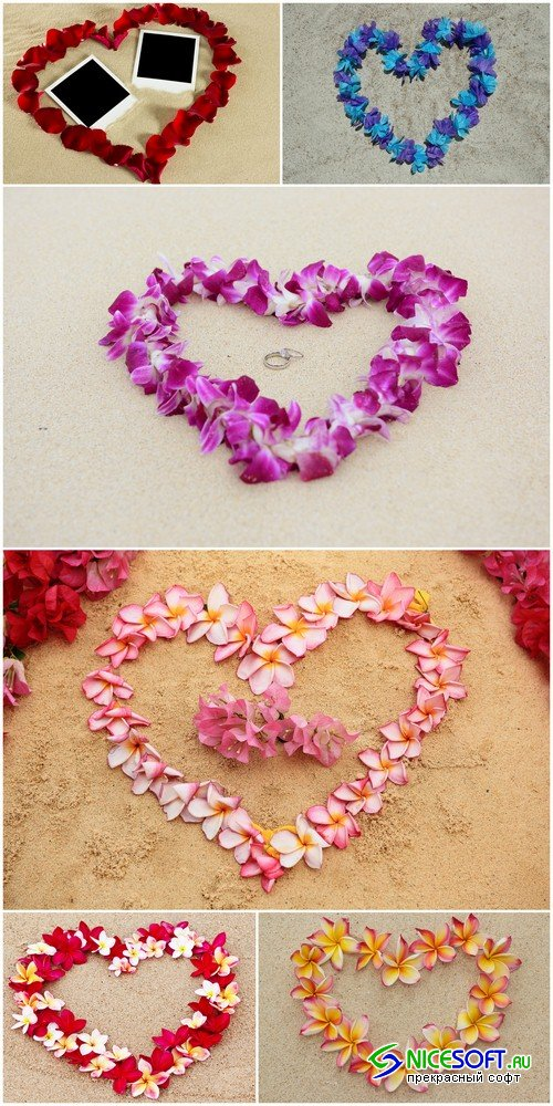 Heart of flowers on the sand 1 - 6 UHQ JPEG