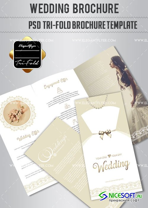 Wedding V1 2018Tri-Fold PSD Brochure Template