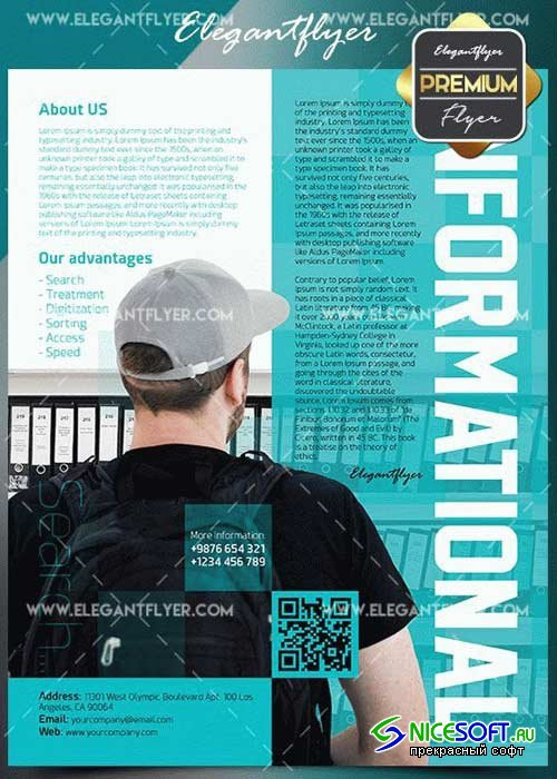 Informational V1 2018 Flyer PSD Template + Facebook Cover
