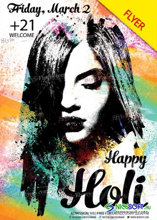 Holi V5 2018 PSD Flyer Template