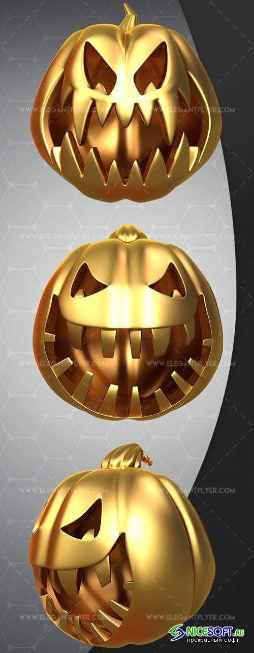 Gold Pumpkin V2 2018 3d Render Templates