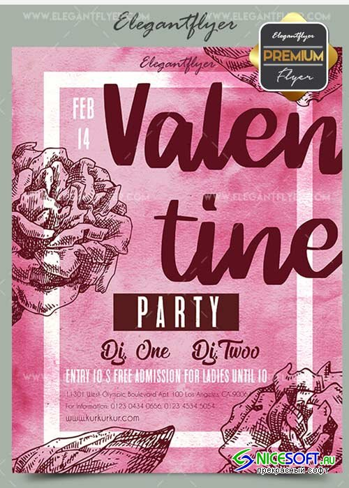 Valentine Party V30 Flyer PSD Template + Facebook Cover