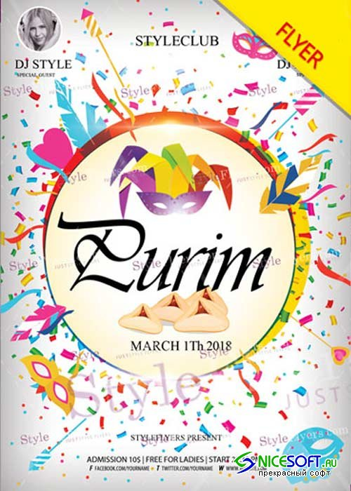 Purim V1 2018 PSD Flyer Template