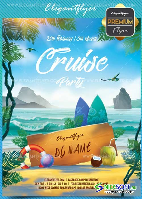 Cruise V1 2018 Flyer PSD Template + Facebook Cover