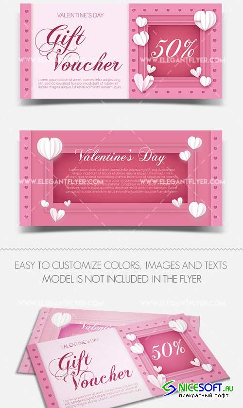 Valentine's Day V1 2018 Gift Certificate PSD Template